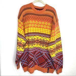 Vintage 90's Willie Esco orange grandpa sweater